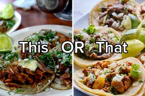 Tacos al pastor or tacos with carne asada