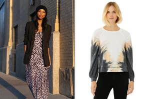 to the left: a model in black blazer and a maxi dress, to the right: a model in a tie dye long sleeve top