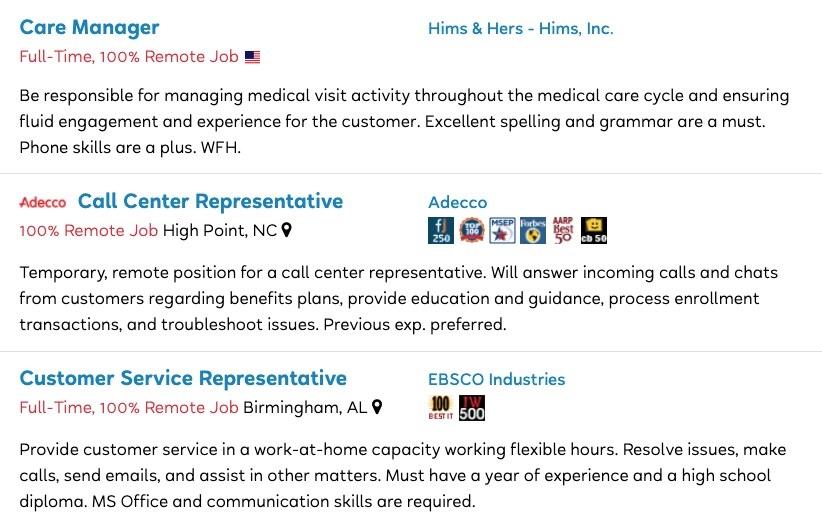 Job postings for Care Manager, Call Center Representative, and Customer Service Representative