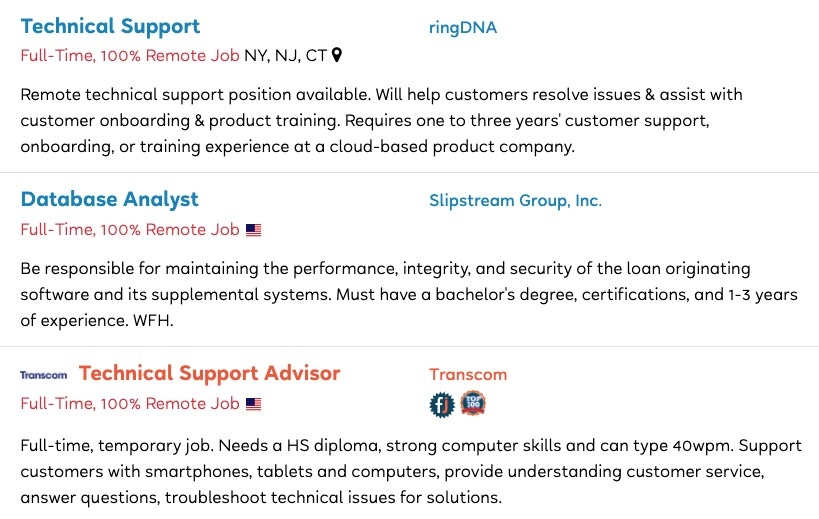 Job postings for Technical Support, Database Analyst, and Technical Support Advisor roles