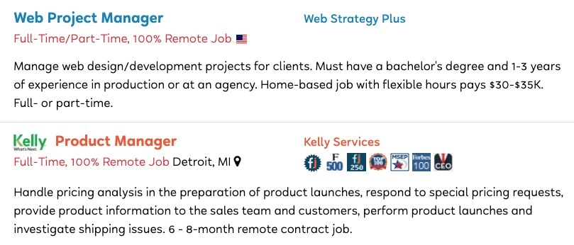 Job postings for Web Project Manager and Product Manager