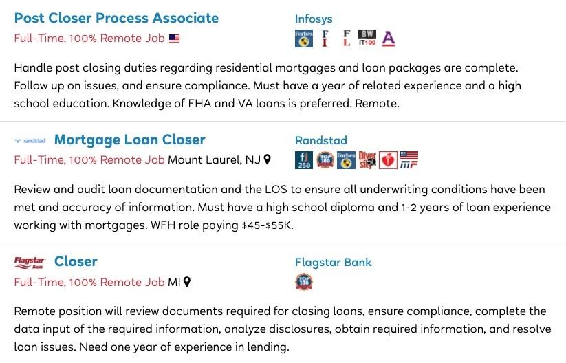Job postings for Post Closer Process Associate, Mortgage Loan Closer, and Closer