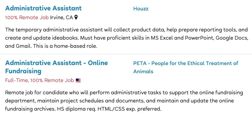 Job postings for Administrative Assistant roles