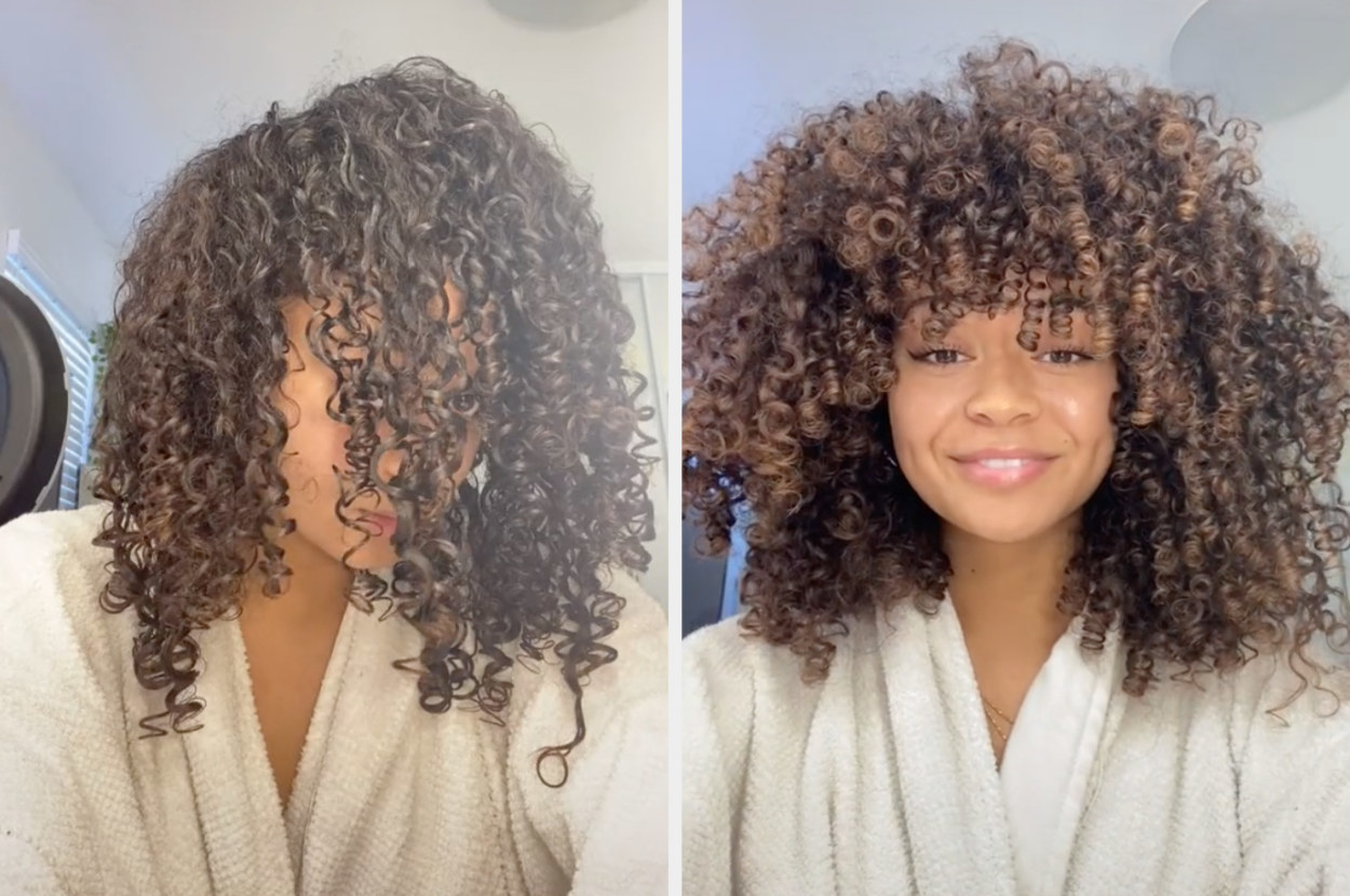 This user shows her wet curls vs them dried, where she has lots of curly ringlets