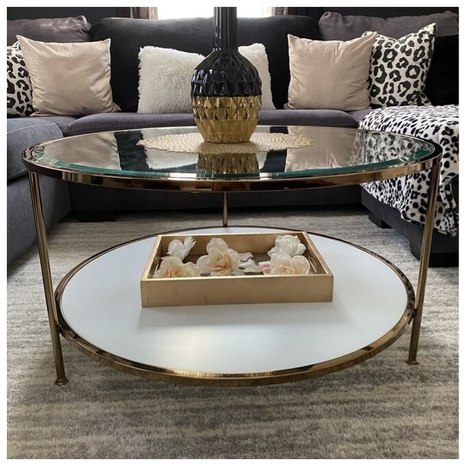 Review photo of circular glass table with gold legs