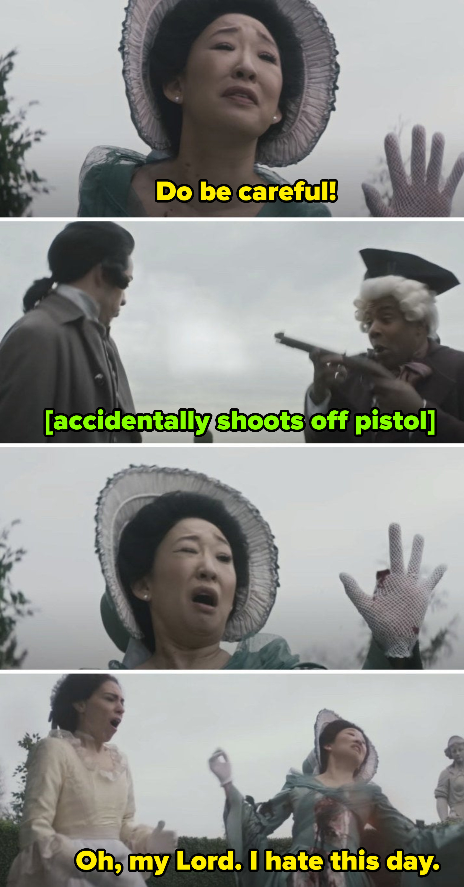 """Sandra Oh getting shot through her chest and hands in the """"Duel"""" sketch"""