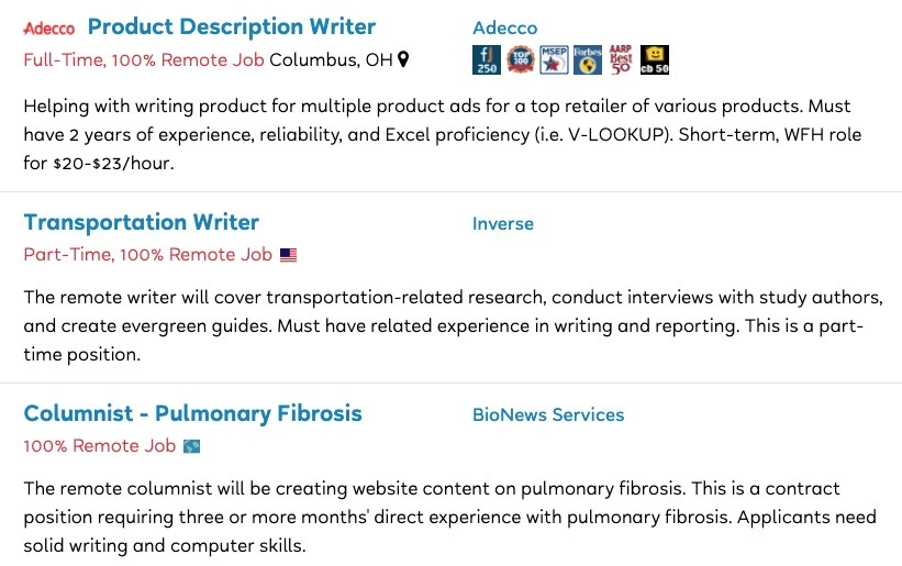 Job postings for Product Description Writer, Transportation Writer, and Pulmonary Fibrosis Columnist
