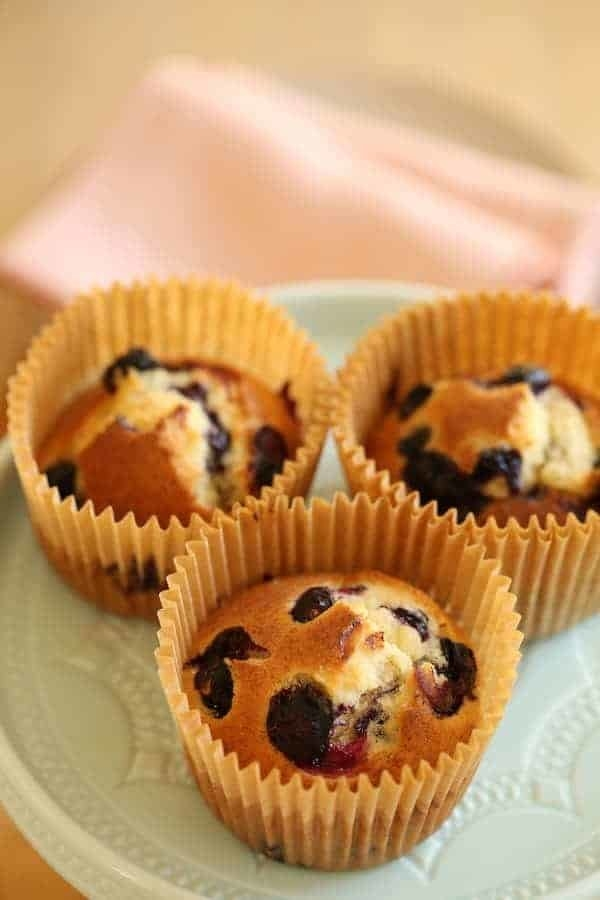 Three blueberry muffins.