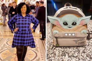 On the left, a reviewer in a blue and black plaid shirt dress. On the right, a baby yoda mini backpack