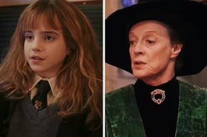 Hermione Granger is on the left on a train with McGonagall on the right