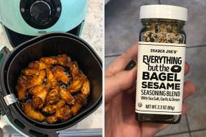 a dash air fryer, and trader joe's everything but the bagel seasoning