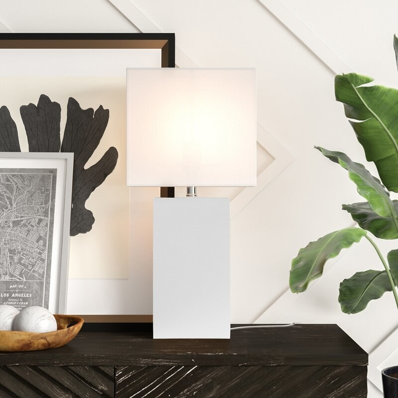 the white rectangular table lamp