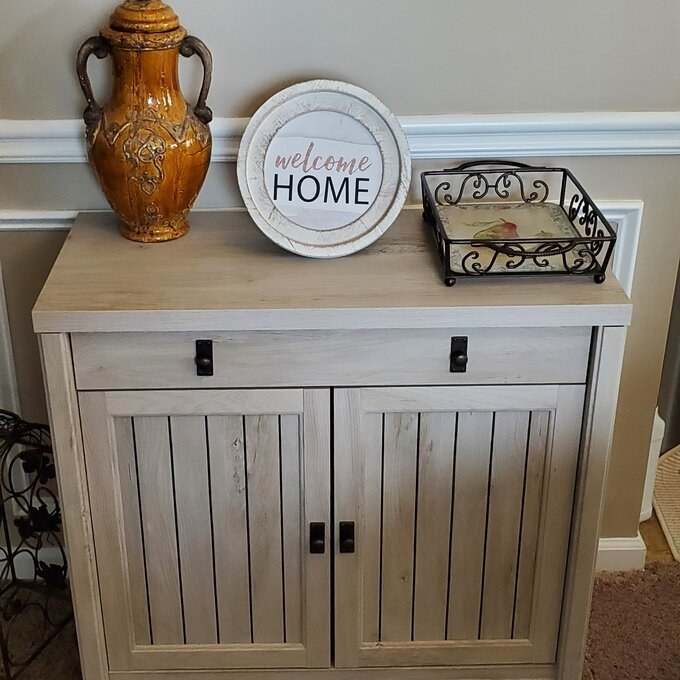 Review photo of the chalked chestnut accent cabinet