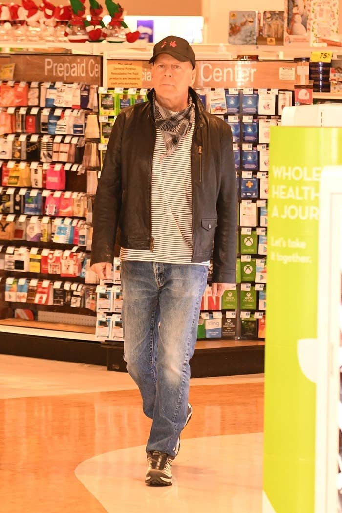 Bruce Willis is spotted walking around Rite-Aid without wearing a mask