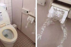 A bathroom, and a zoomed in picture of the toilet paper roll that's been turned into a girl with braids