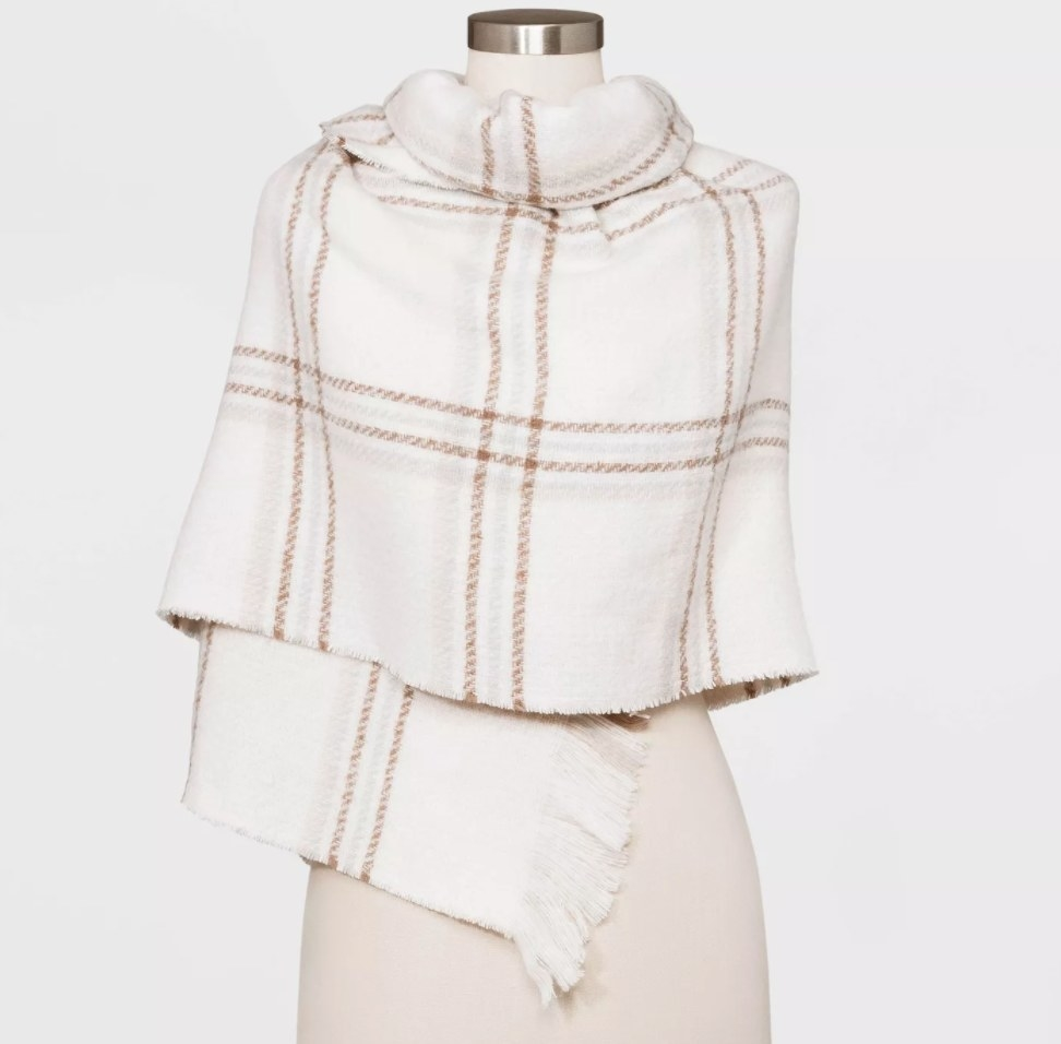 The checkered print cream/tan scarf