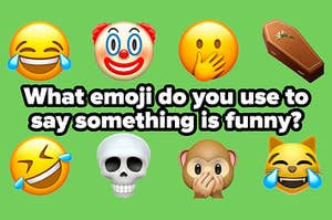 """Cry laughing, clown, hand over mouth, coffin, sideways cry laughing, skull, monkey covering mouth, and cat cry laughing emojis, with the title """"What emoji do you use to say something is funny?"""""""