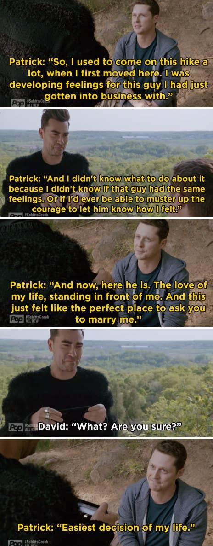 Patrick proposing to David on their mountain hike