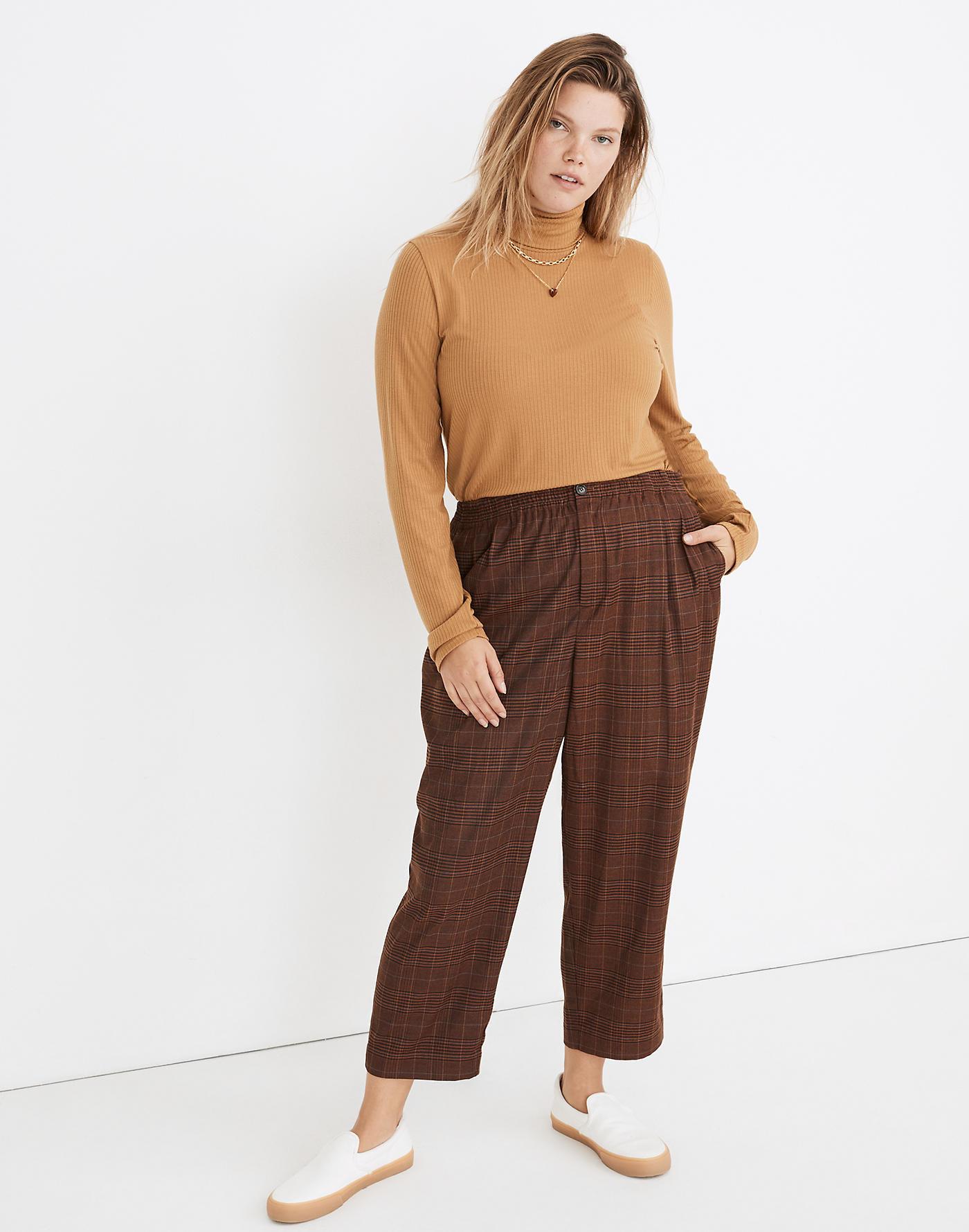 model wearing plaid pants