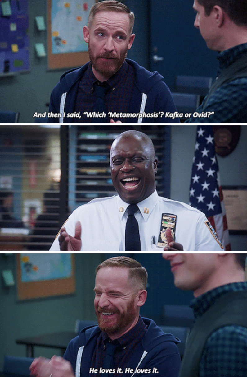 Kevin telling a nerdy joke and Captain Holt cracking up at it