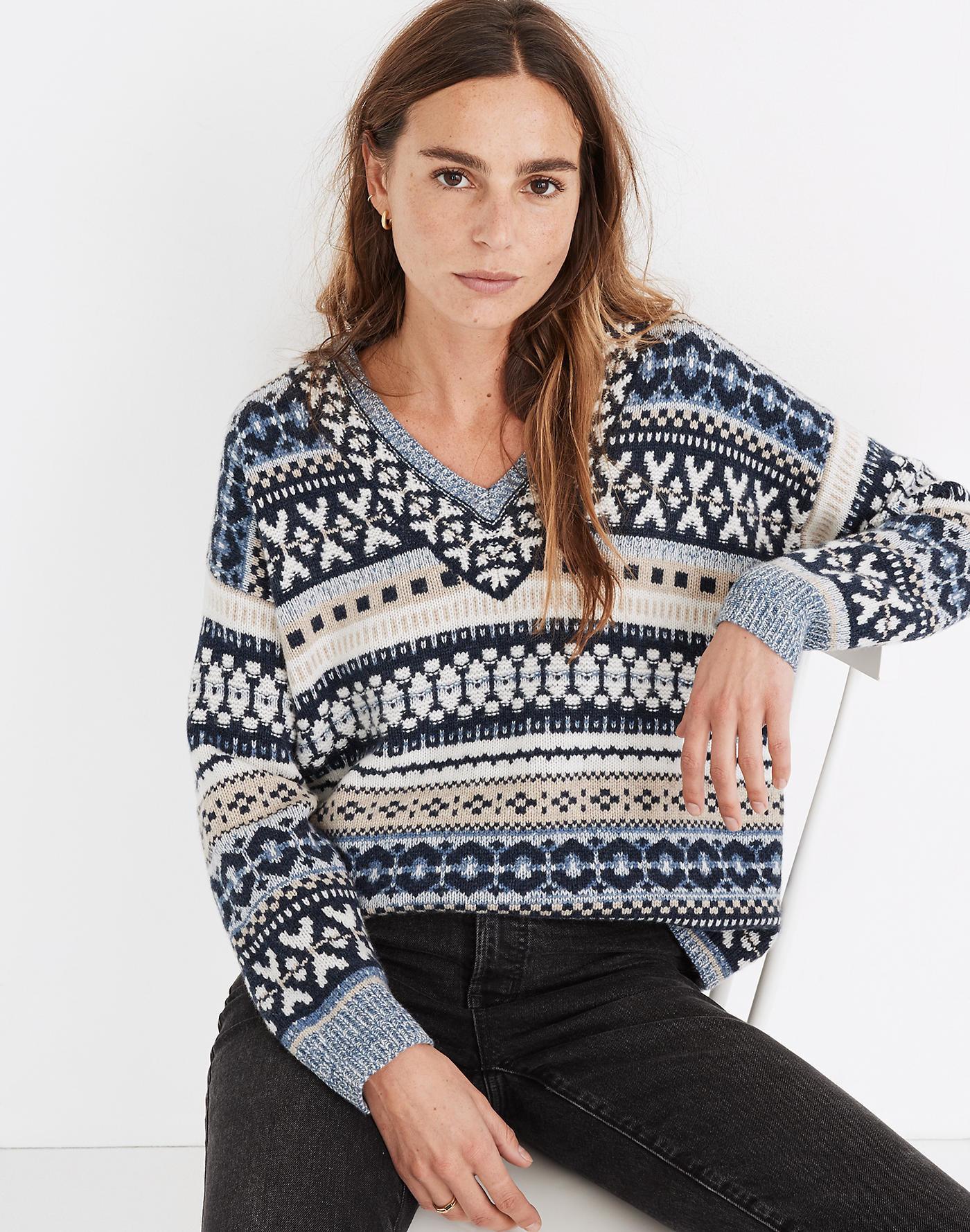 Model wearing blue patterned sweater