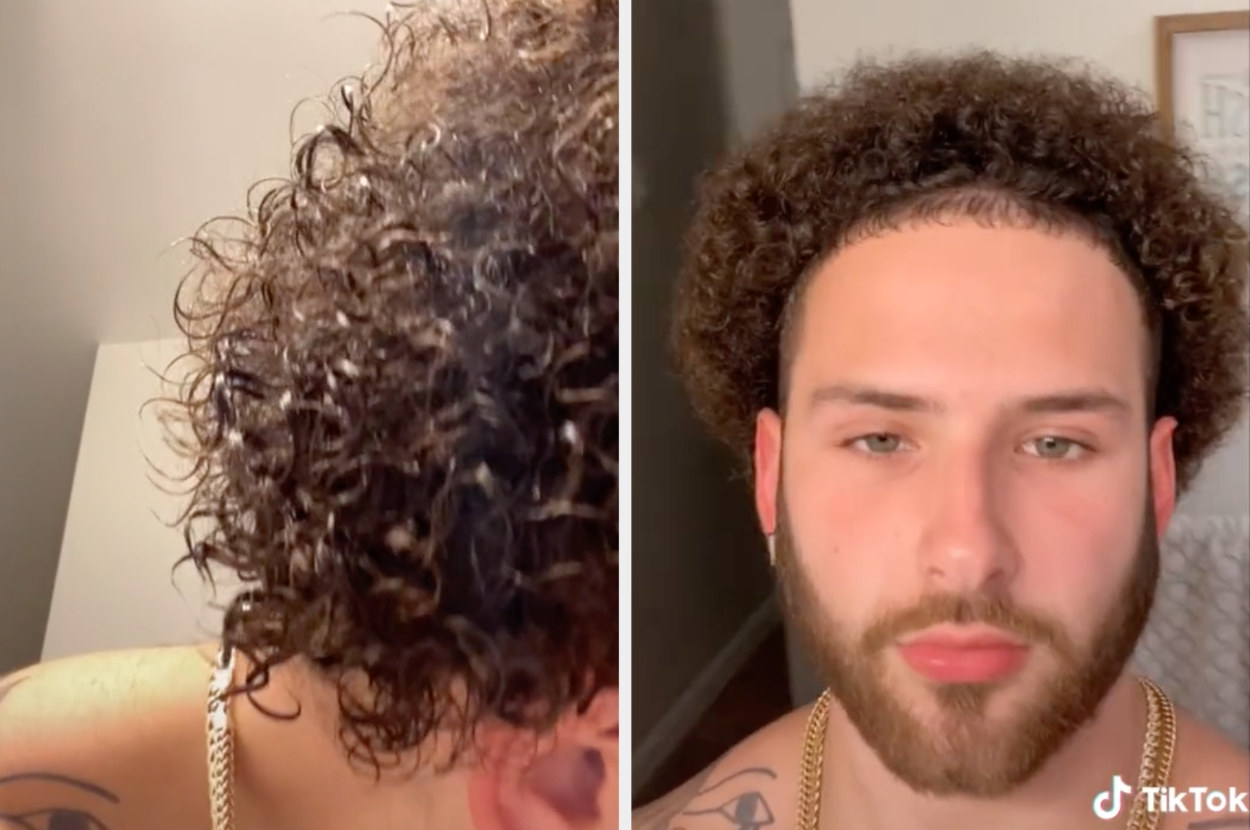 This user shows his curls wet then dry where the curls are shorter but still defined