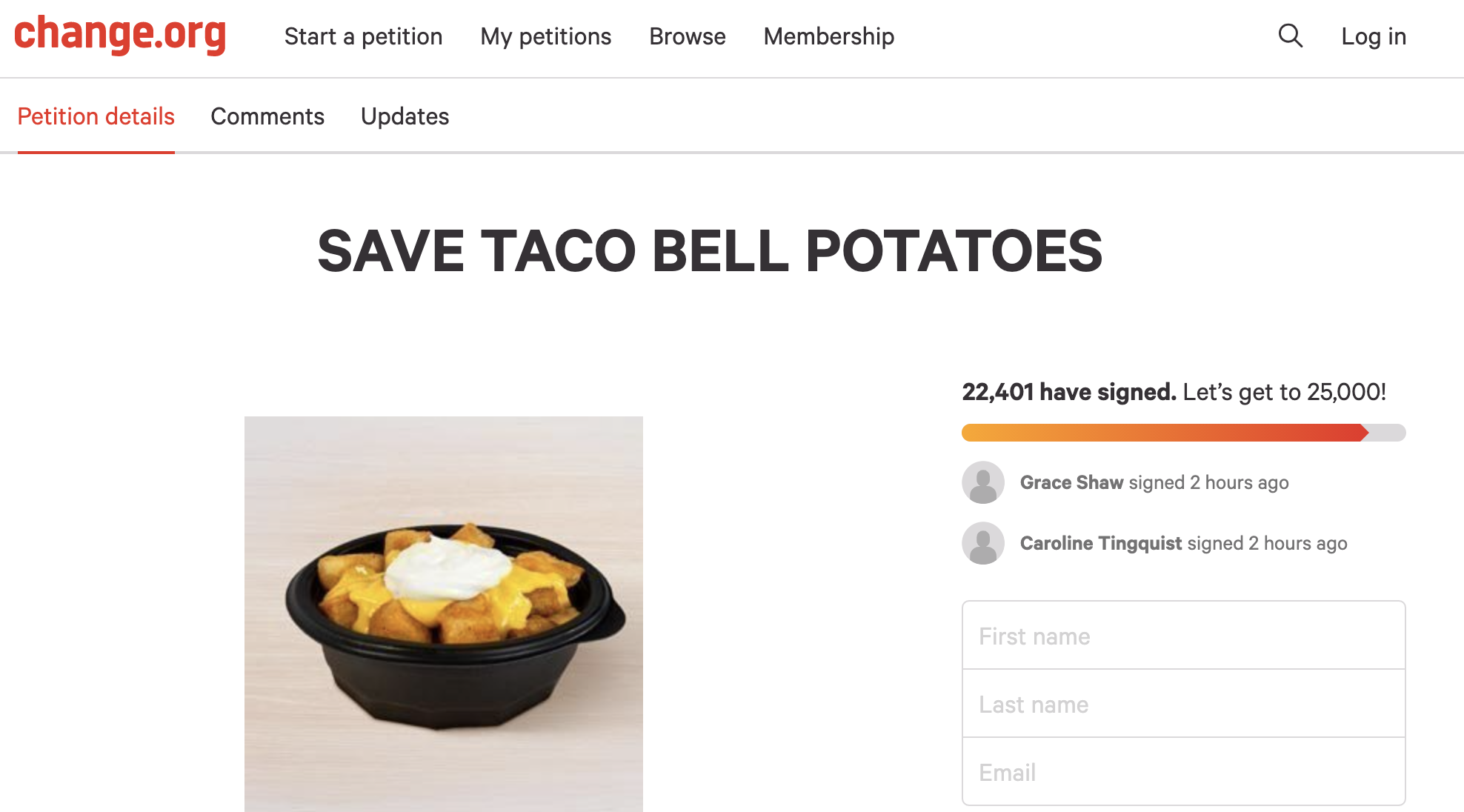 """A petition to """"save Taco Bell potatoes"""" on change.org"""