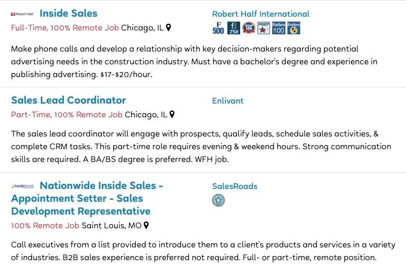 Job postings for Inside Sales, Sales Lead Coordinator, and Inside Sales Appointment Setter