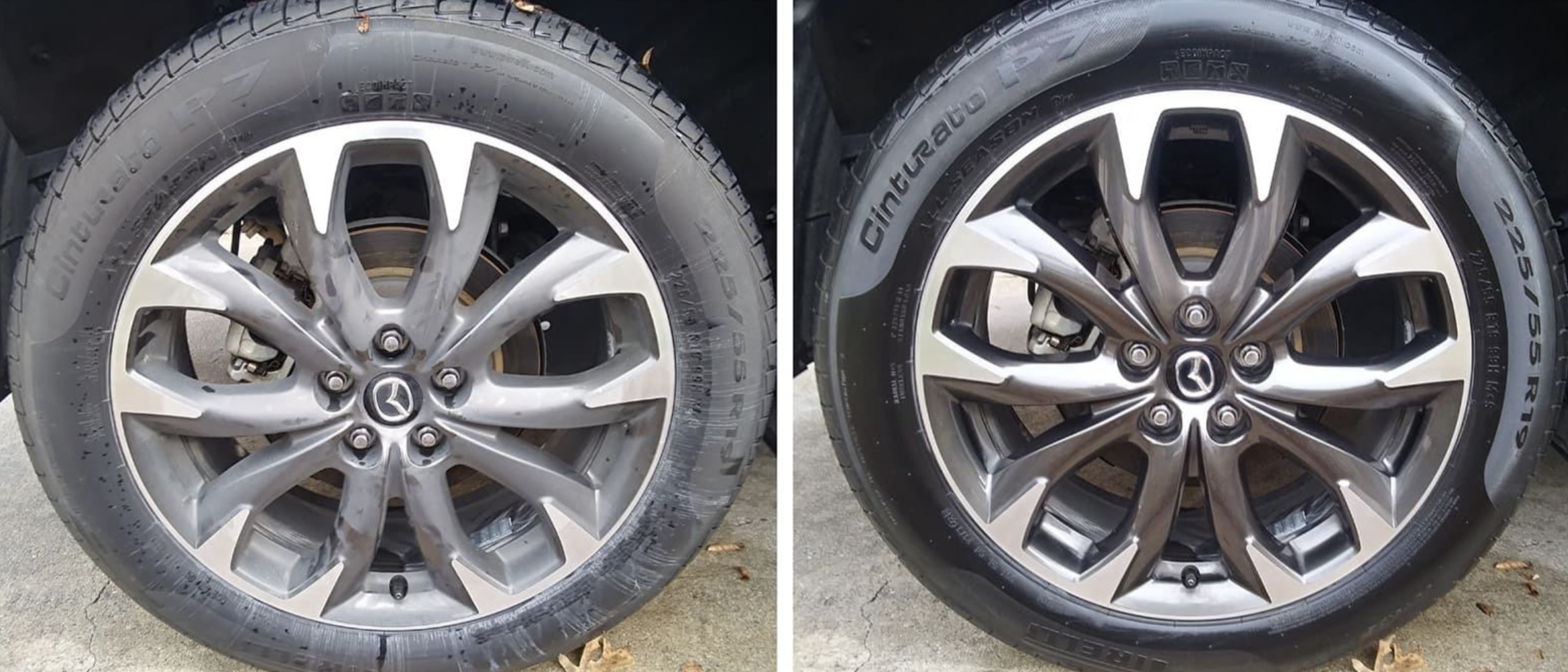 on the left, a reviewer's tires looking dirty, and on the right, the same tires now looking clean