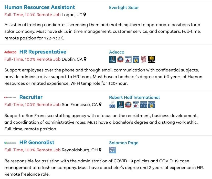 Job descriptions for Human Resources Assistant, HR Representative, Recruiter, and HR Generalist