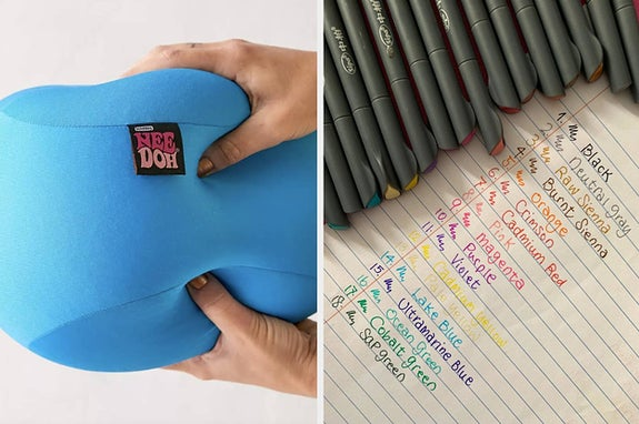 squish toy and pens