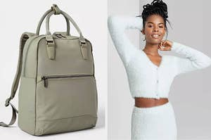 On left, green laptop backpack with front pocket. On right, model wears fuzzy light blue cardigan with matching skirt