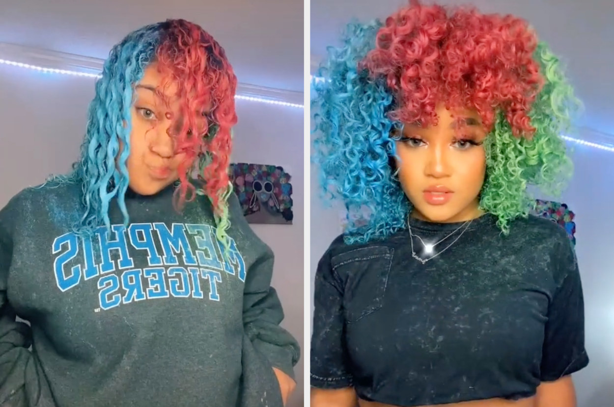 This TikTok user shows he multi-colored curly hair wet vs dry, where she has big voluminous and colorful curls