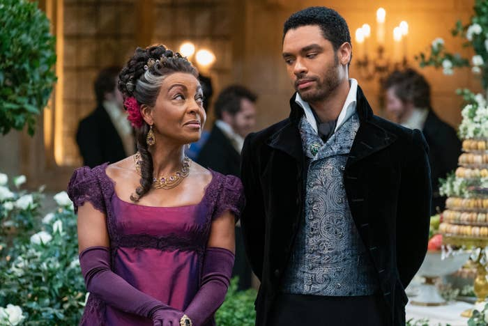 Adjoa Andoh as Lady Danbury and Regé-Jean Page as Simon Basset