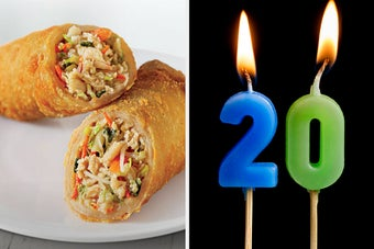 On the left, some egg rolls from Panda Express, and on the right, candles that make the number 20