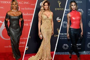 Laverne in an off the shoulder tight short sleeve glitter dress, a sleeveless v neck metallic embroidery mermaid dress, and a tight latex sleeveless turtleneck top with low-waist leather pants