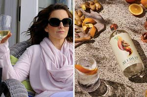 Tina Fey holding a drink and Seedlip non-alcoholic spirit.