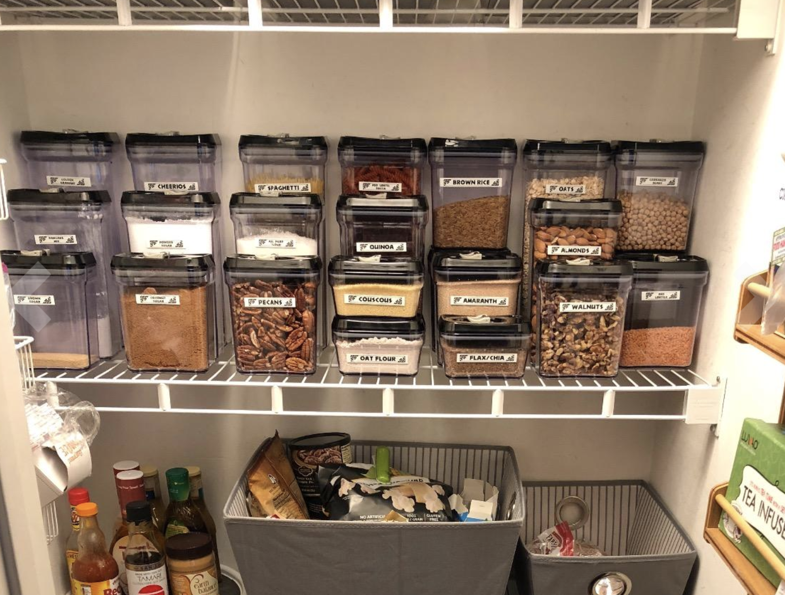 reviewer image of containers used in pantry to hold spices and nuts