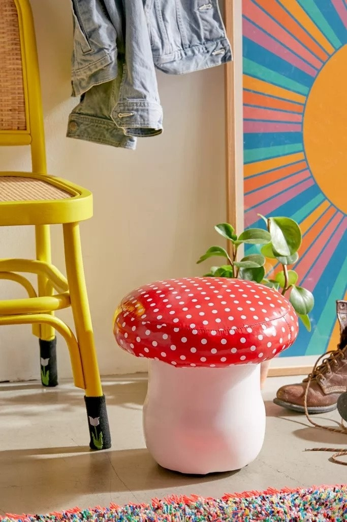 Red cap mushroom foot stool