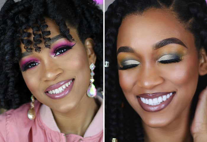 A beauty influencer shows off her old set of teeth and her new set of veneer in side-by-side images