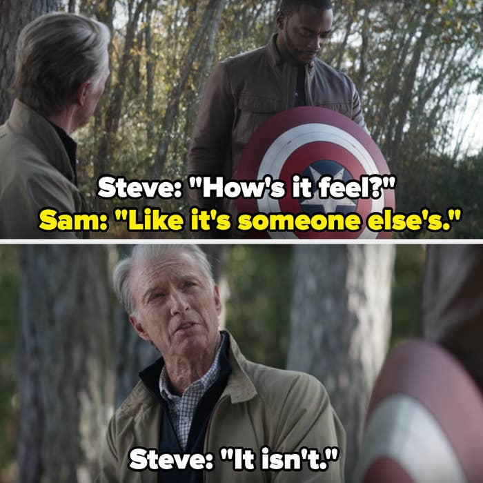 """Steve asks Sam how it feels to hold the shield to which Sam replies that it feels """"like it's someone else's"""""""