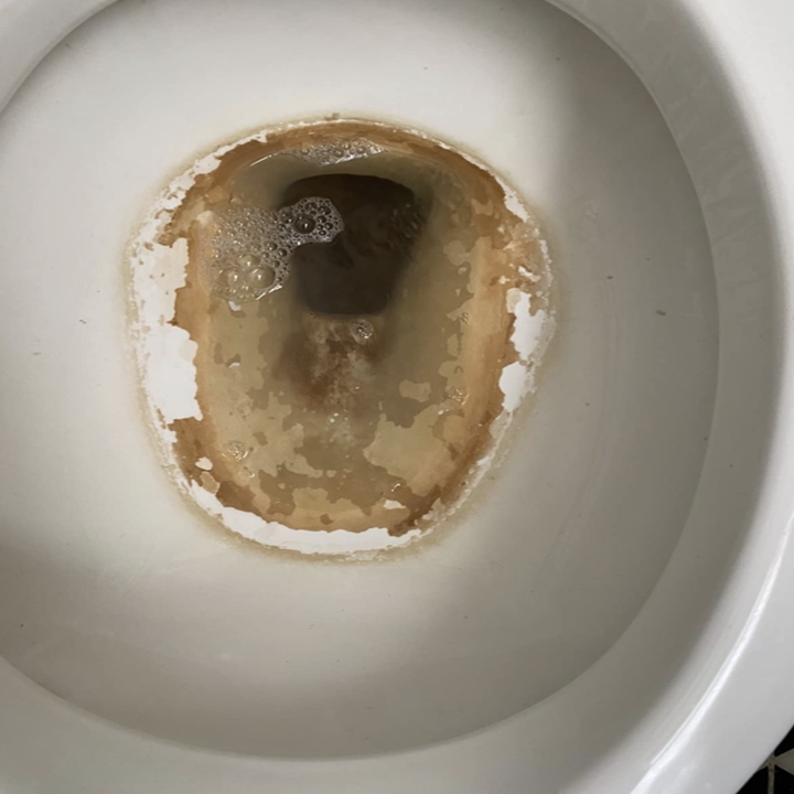 the inside of a reviewer's toilet looking dirty