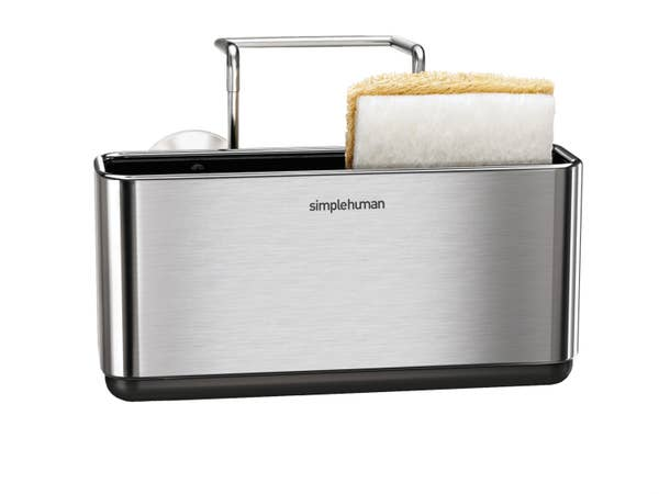 stainless steel sink caddy with sponge inside