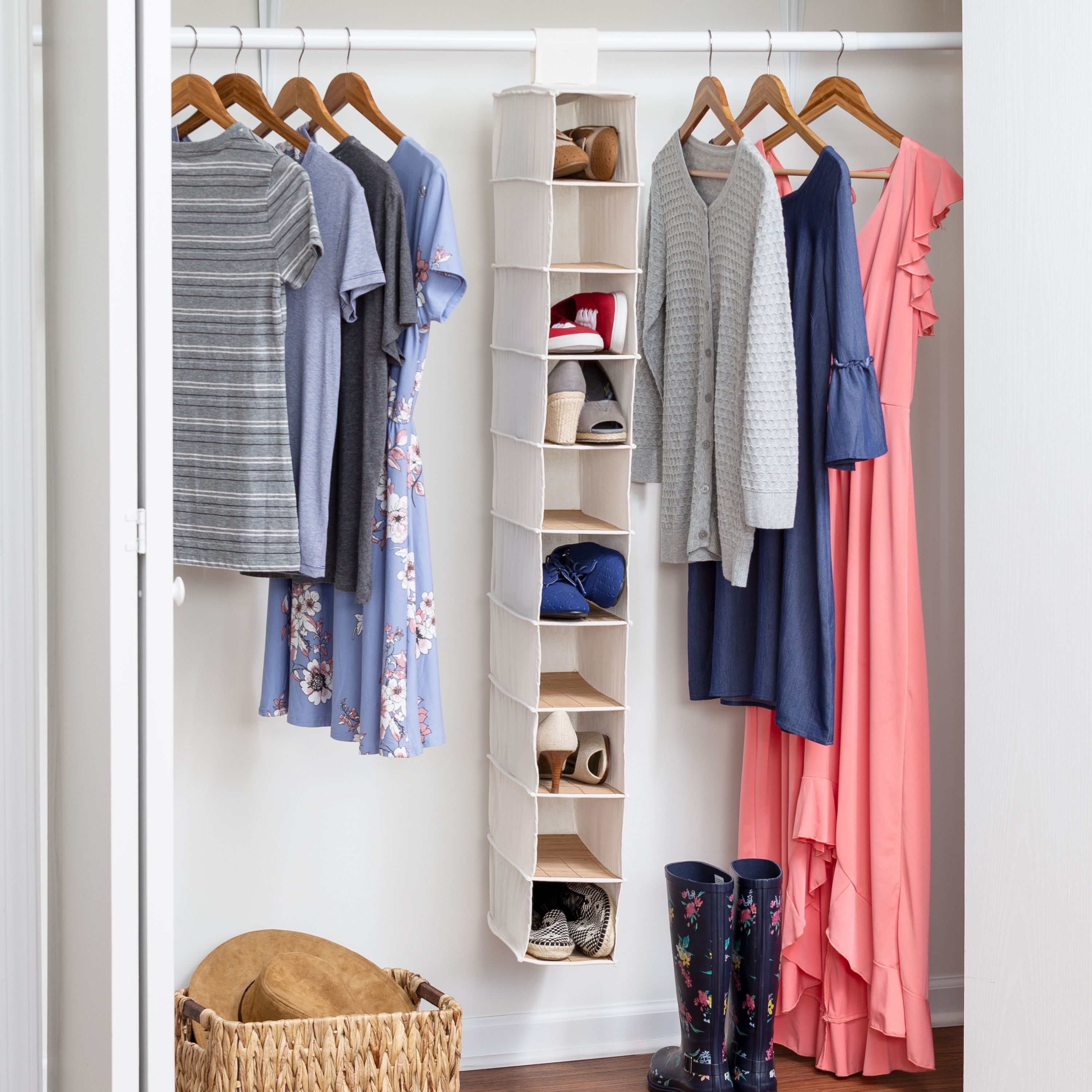 10-shelf hanging shoe organizer in a closet with shoes inside
