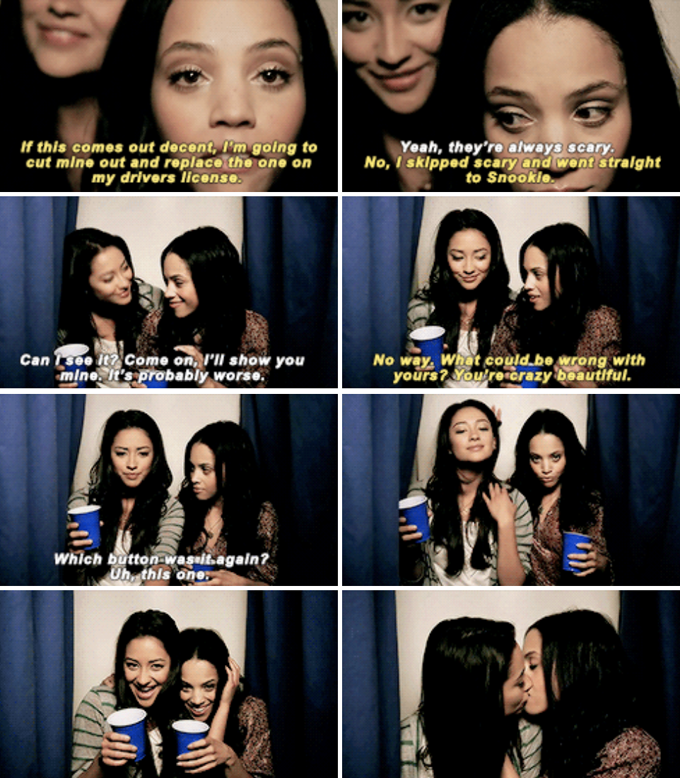 Emily and Maya taking photo booth pictures together, and ultimately kissing in the last one