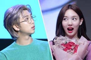 Two k-pop idols looking shocked