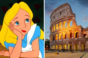 Alice from alice in wonderland on the left thinking and the colosseum in rome on the right