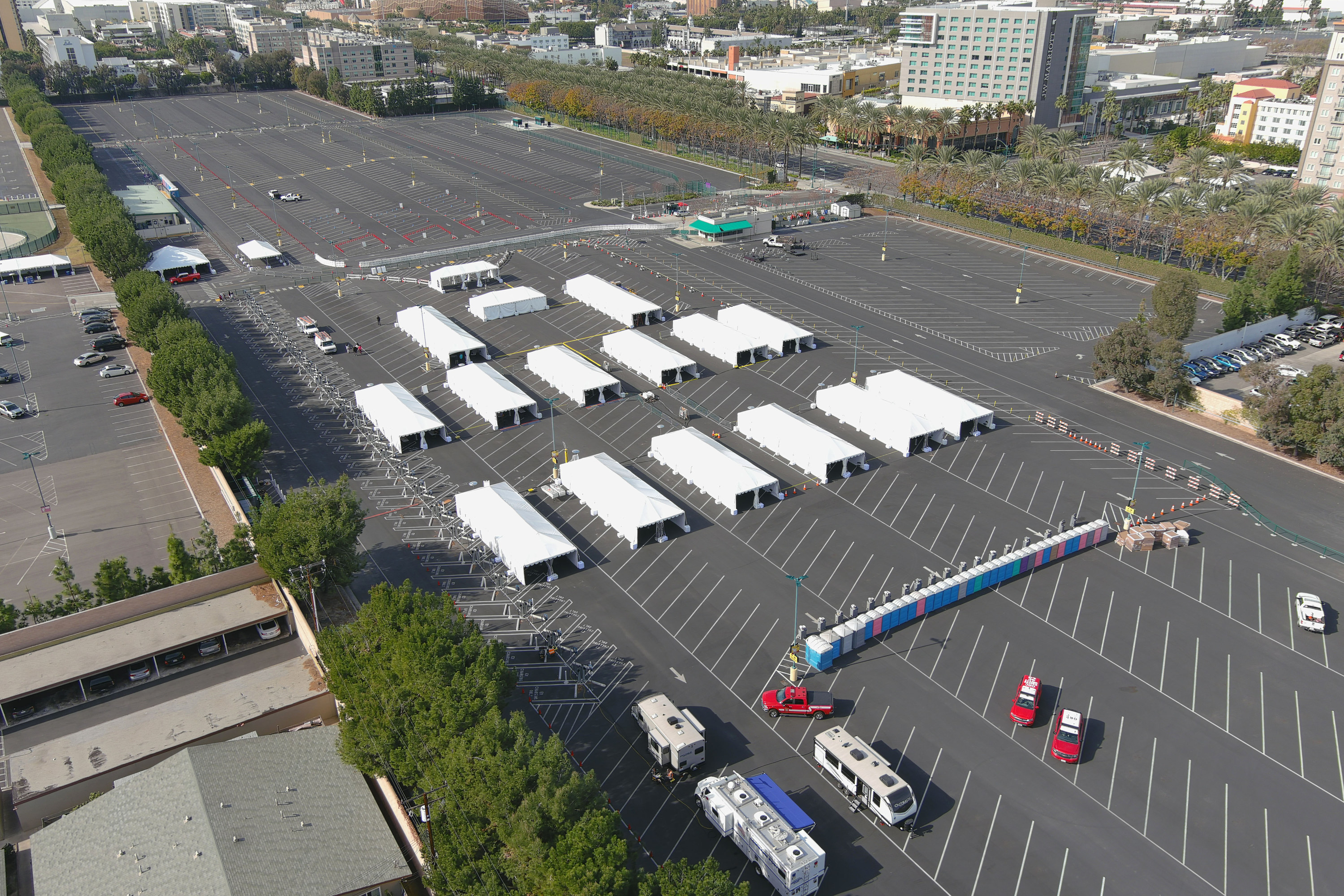 the resort bus lot transformed into a vaccination site