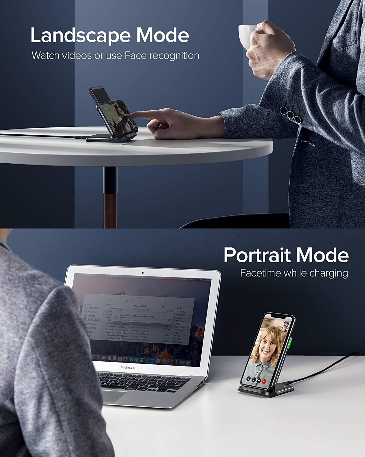 A person using the charger with their phone in landscape mode and a person using it in portrait mode