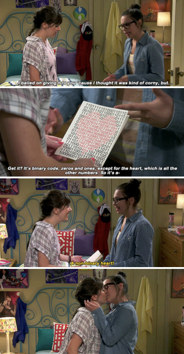 Elena presenting Syd with a non-binary heart card in her bedroom